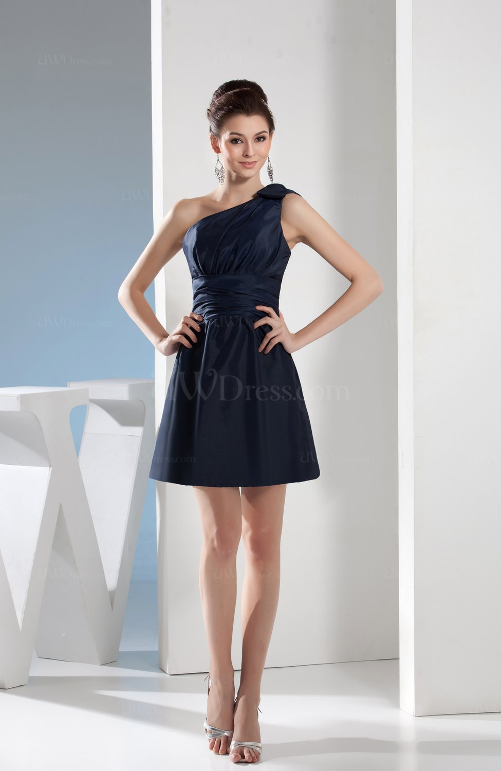 Navy Blue Simple A-line One Shoulder Mini Pleated ...