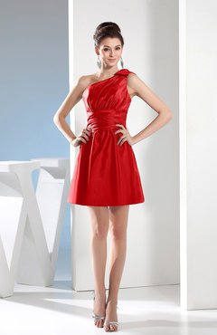 Red Simple A-line One Shoulder Mini Pleated Bridesmaid Dresses