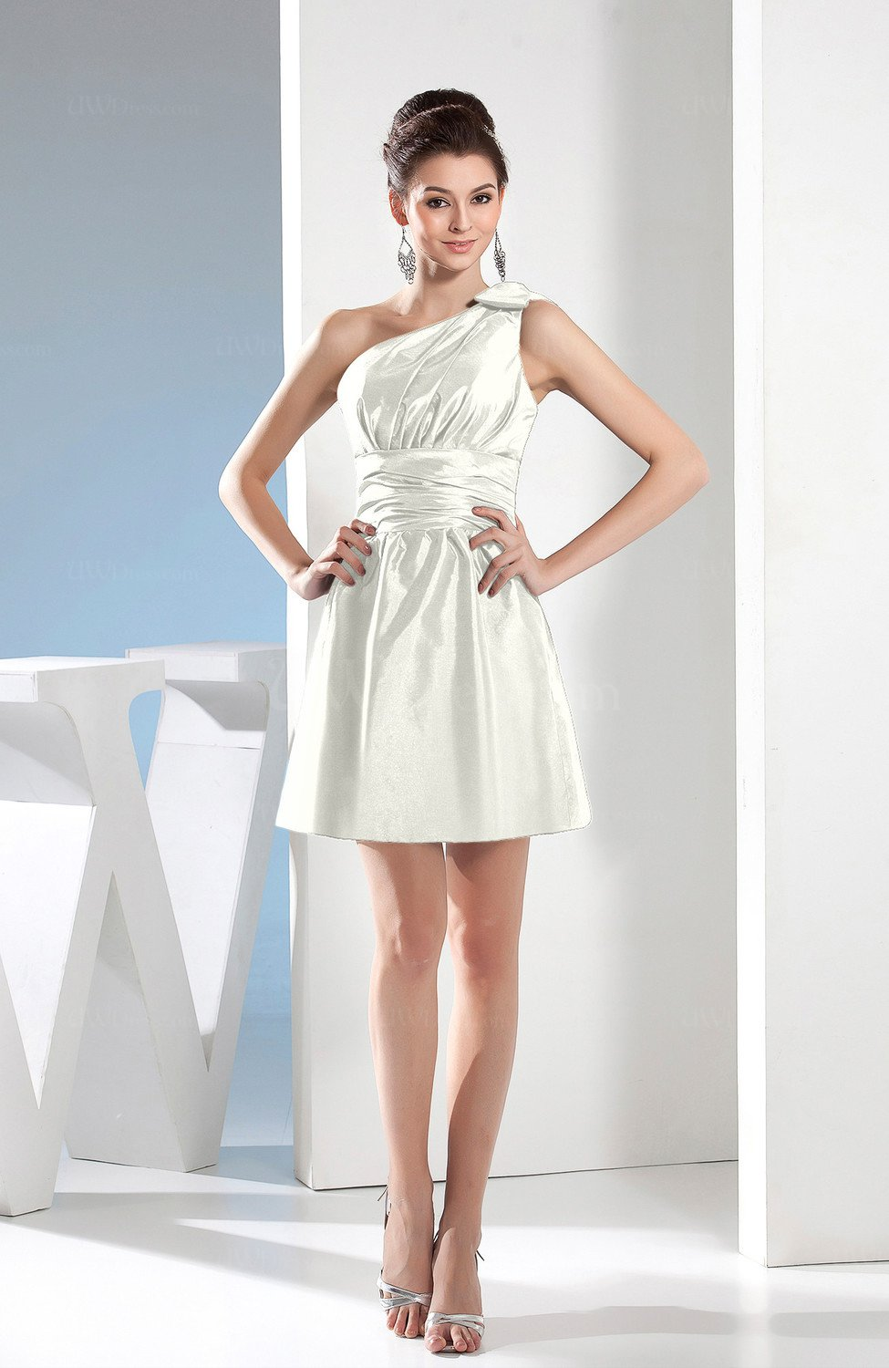White Simple A-line One Shoulder Mini Pleated Bridesmaid