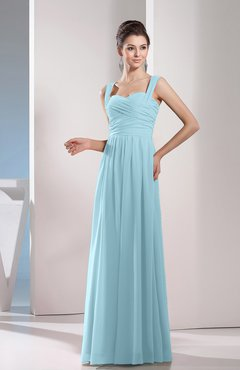 Aqua Cute A-line Chiffon Floor Length Ruching Bridesmaid Dresses