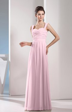 Blush Cute A-line Chiffon Floor Length Ruching Bridesmaid Dresses