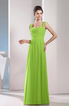 Bright Green Cute A-line Chiffon Floor Length Ruching Bridesmaid Dresses