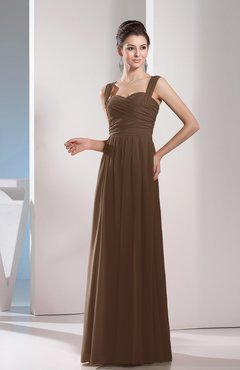 Brown Cute A-line Chiffon Floor Length Ruching Bridesmaid Dresses