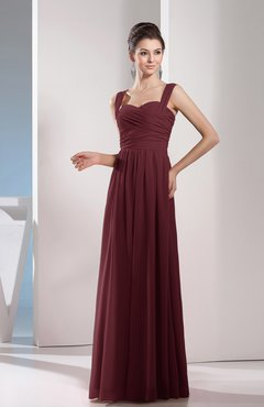 Burgundy Cute A-line Chiffon Floor Length Ruching Bridesmaid Dresses