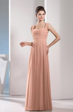 Burnt Orange Cute A-line Chiffon Floor Length Ruching Bridesmaid Dresses