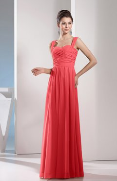 Coral Cute A-line Chiffon Floor Length Ruching Bridesmaid Dresses