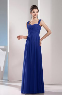 Electric Blue Cute A-line Chiffon Floor Length Ruching Bridesmaid Dresses