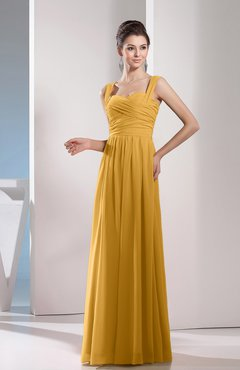 Gold Cute A-line Chiffon Floor Length Ruching Bridesmaid Dresses