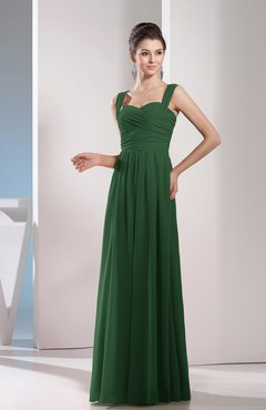 Hunter Green Cute A-line Chiffon Floor Length Ruching Bridesmaid Dresses