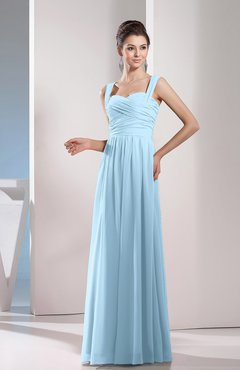 Ice Blue Cute A Line Chiffon Floor Length Ruching Bridesmaid Dresses