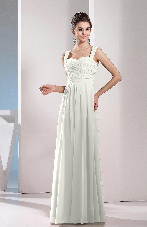 Ivory Cute A Line Chiffon Floor Length Ruching Bridesmaid