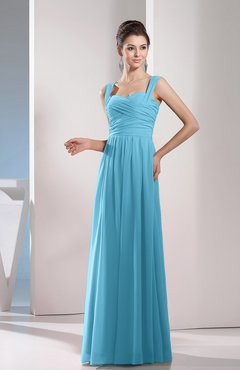 Light Blue Cute A-line Chiffon Floor Length Ruching Bridesmaid Dresses