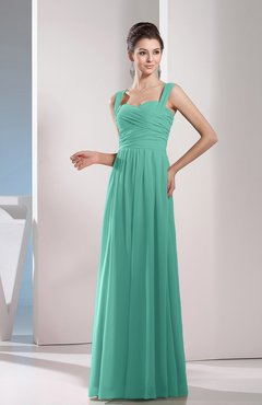 Mint Green Cute A-line Chiffon Floor Length Ruching Bridesmaid Dresses
