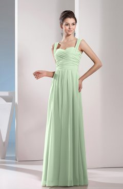 Pale Green Cute A-line Chiffon Floor Length Ruching Bridesmaid Dresses