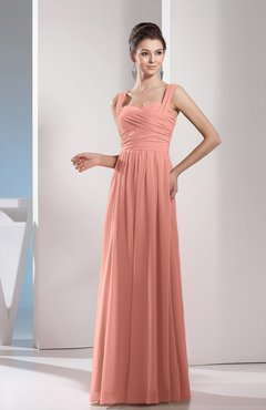 Peach Cute A-line Chiffon Floor Length Ruching Bridesmaid Dresses