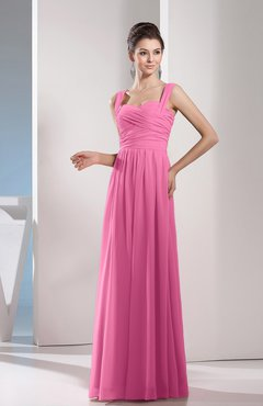 Pink Cute A-line Chiffon Floor Length Ruching Bridesmaid Dresses