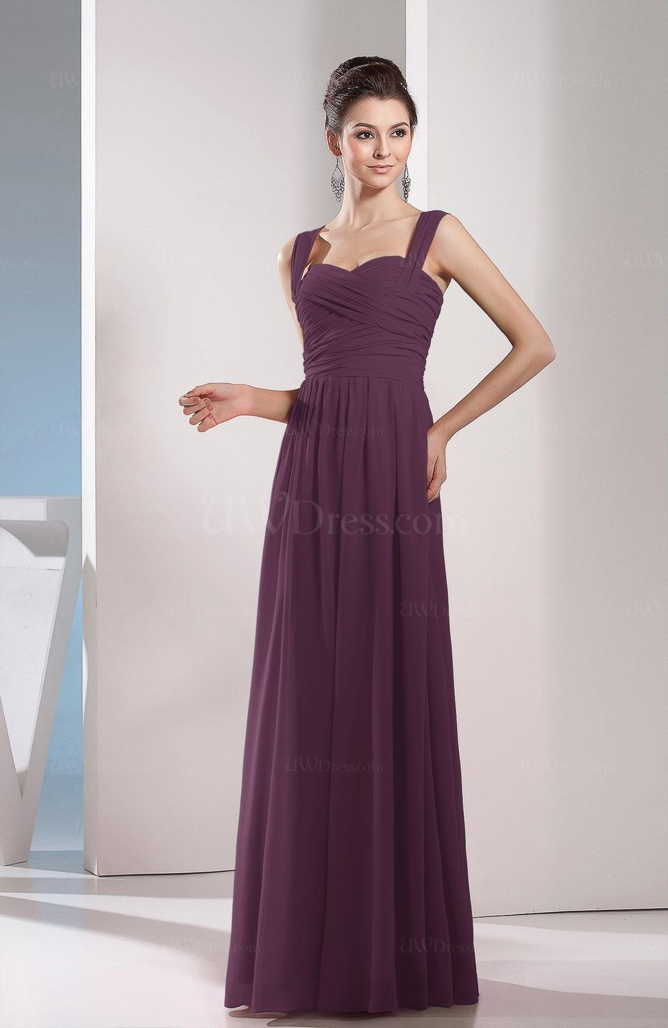Plum Cute A-line Chiffon Floor Length Ruching Bridesmaid ...