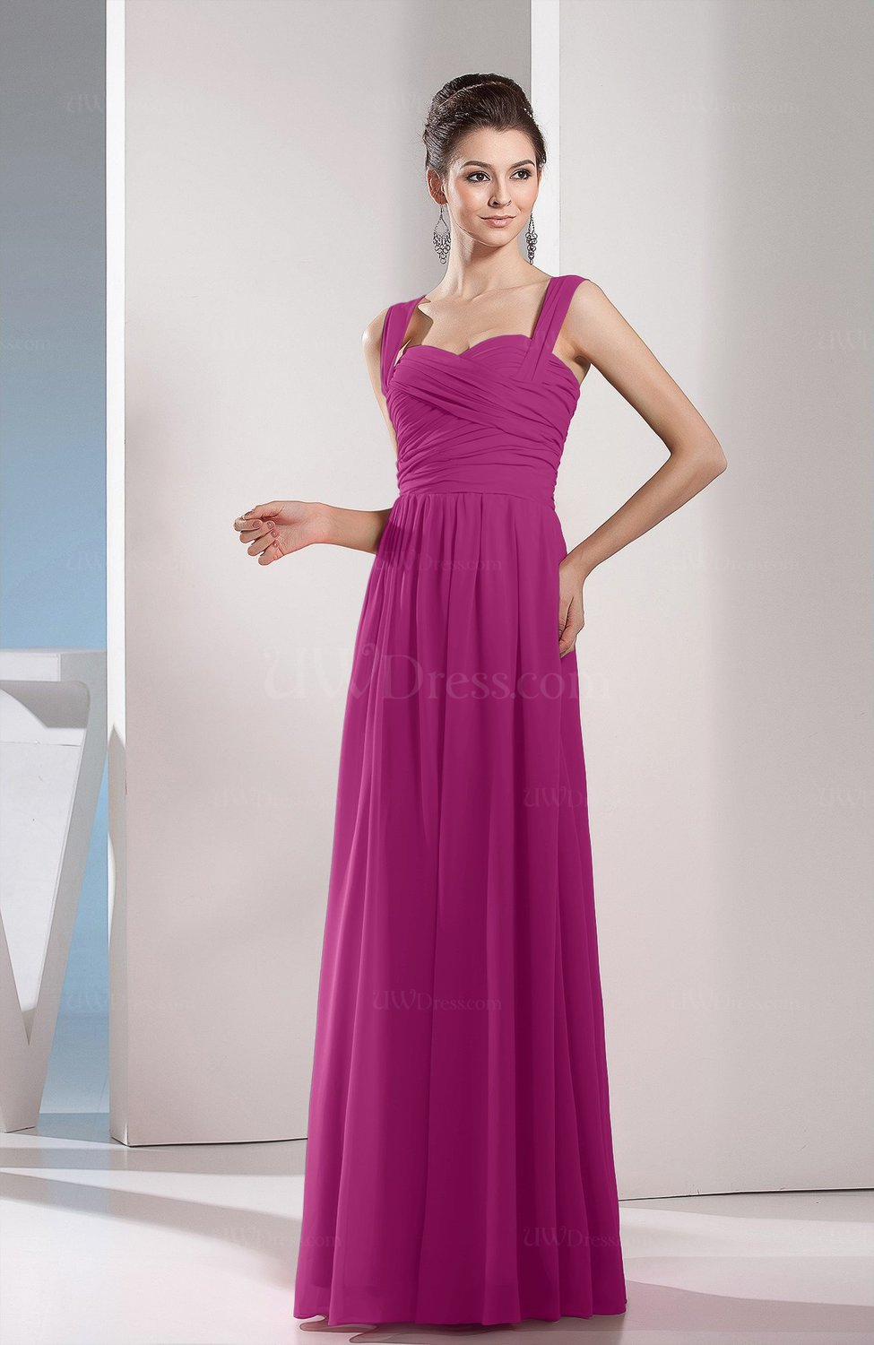 Raspberry Cute A-line Chiffon Floor Length Ruching Bridesmaid ...