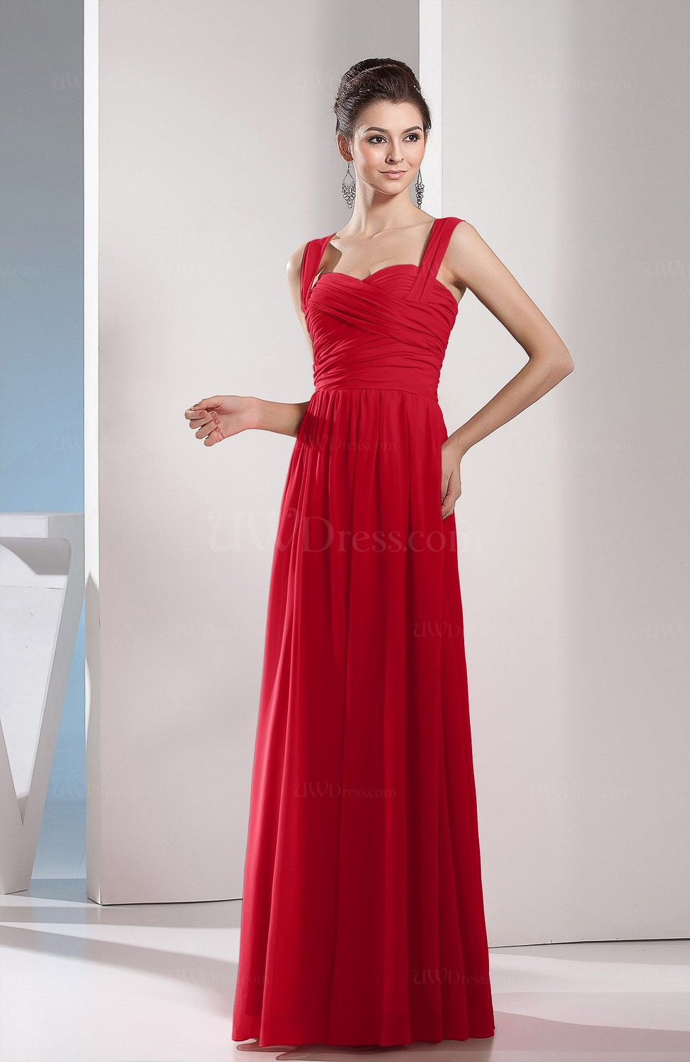 Red cute a line chiffon floor length ruching bridesmaid Red a line wedding dress
