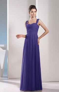 Royal Purple Cute A-line Chiffon Floor Length Ruching Bridesmaid Dresses