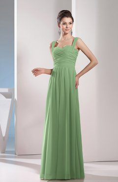 Sage Green Cute A-line Chiffon Floor Length Ruching Bridesmaid Dresses