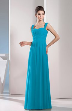 Teal Cute A-line Chiffon Floor Length Ruching Bridesmaid Dresses