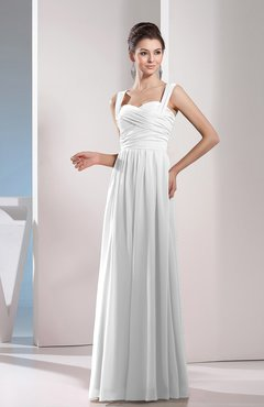 White Cute A-line Chiffon Floor Length Ruching Bridesmaid Dresses