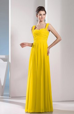 Yellow Cute A-line Chiffon Floor Length Ruching Bridesmaid Dresses