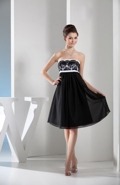 Black Glamorous A-line Sleeveless Backless Chiffon Pleated Bridesmaid Dresses