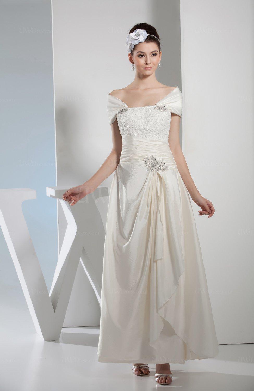 Cream elegant beach a line short sleeve zip up taffeta for A line taffeta wedding dress