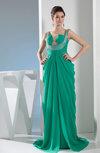 Glamorous Thick Straps Sleeveless Brush Train Ruching Evening Dresses