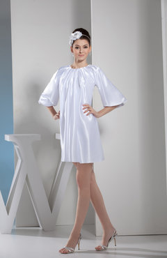 White Informal Jewel Zip up Elastic Woven Satin Short Pleated Party Dresses