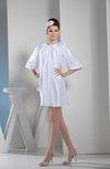 Informal Jewel Zip up Elastic Woven Satin Short Pleated Party Dresses
