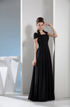 Simple A-line Short Sleeve Zip up Chiffon Ruching Evening Dresses