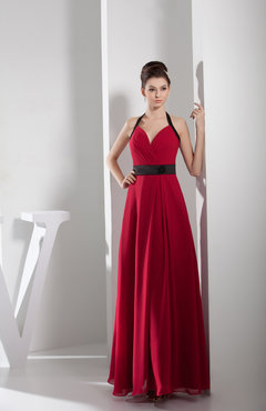 Red Elegant A-line Sleeveless Zip up Chiffon Floor Length Bridesmaid Dresses