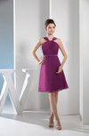 Plain A-line Thick Straps Zip up Knee Length Ruching Bridesmaid Dresses