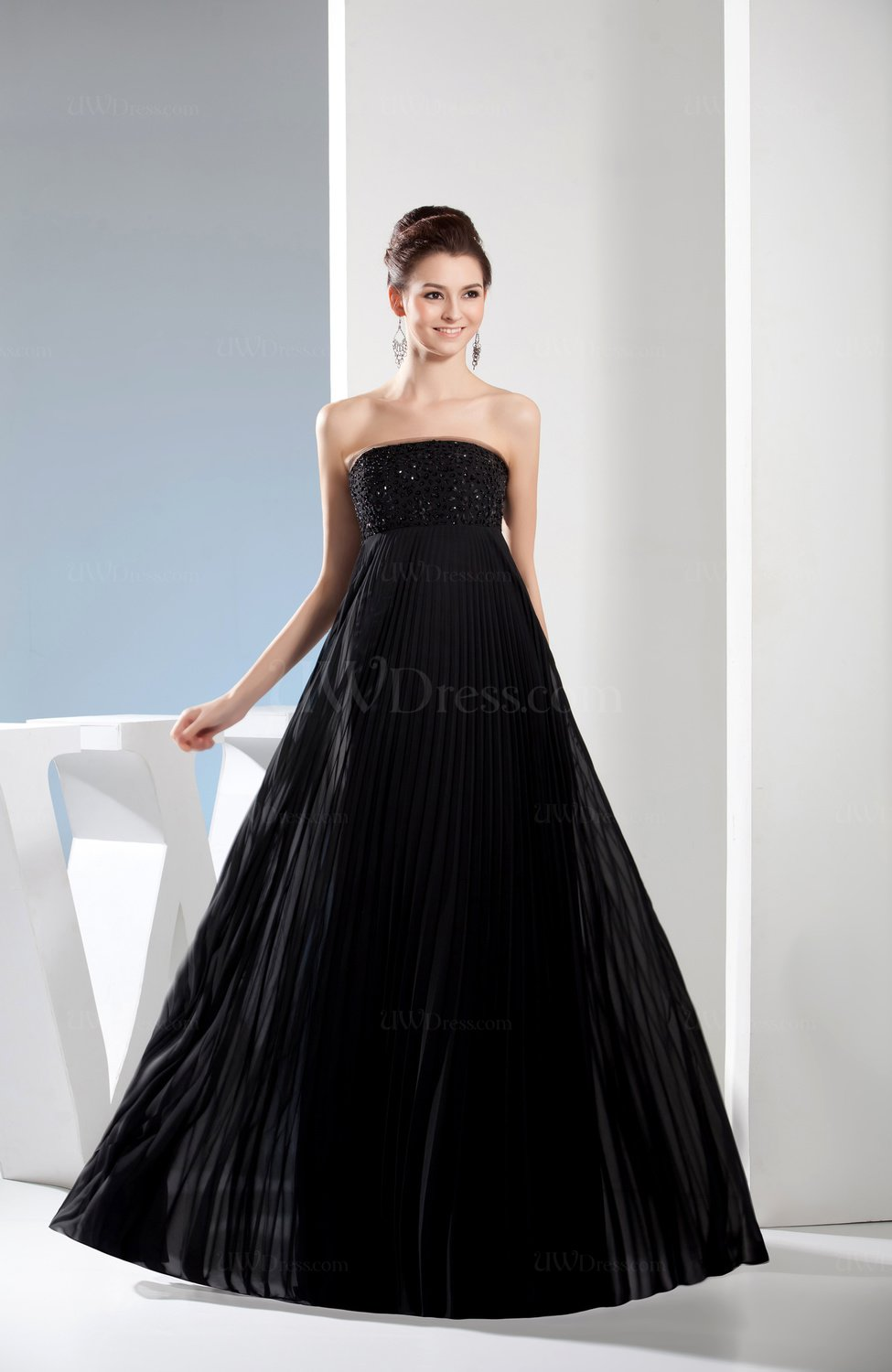 Black elegant empire strapless sleeveless floor length for Floor length dresses