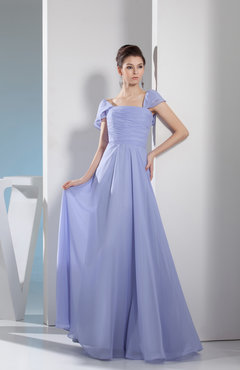 Lavender Simple A-line Square Zipper Floor Length Bridesmaid Dresses