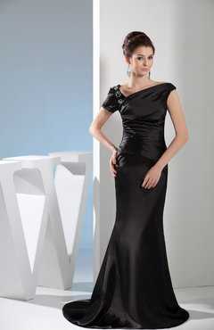 Black Modest Asymmetric Neckline Sleeveless Zipper Silk Like Satin Brush Train Evening Dresses
