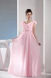 Simple V-neck Zip up Chiffon Floor Length Ruching Bridesmaid Dresses