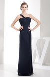 Simple Sheath Asymmetric Neckline Zip up Chiffon Floor Length Bridesmaid Dresses
