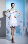 Cute Hall One Shoulder Sleeveless Zipper Short Rhinestone Bridal Gowns