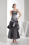 Modest Sleeveless Taffeta Ankle Length Tiered Evening Dresses