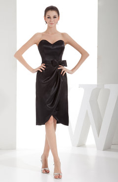 Black Elegant Sheath Sweetheart Zip up Silk Like Satin Bow Little Black Dresses