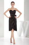 Elegant Sheath Sweetheart Zip up Silk Like Satin Bow Little Black Dresses