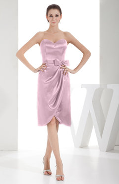 Blush Elegant Sheath Sweetheart Zip up Silk Like Satin Bow Little Black Dresses