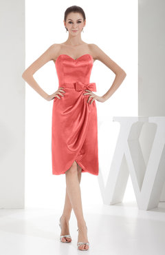 Coral Elegant Sheath Sweetheart Zip up Silk Like Satin Bow Little Black Dresses