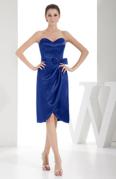 Electric Blue Elegant Sheath Sweetheart Zip up Silk Like Satin Bow Little Black Dresses