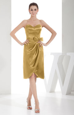 Gold Elegant Sheath Sweetheart Zip up Silk Like Satin Bow Little Black Dresses