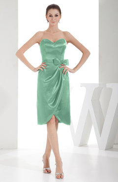 Mint Green Elegant Sheath Sweetheart Zip up Silk Like Satin Bow Little Black Dresses